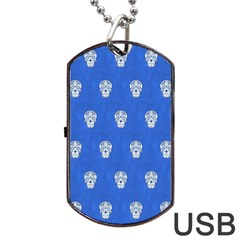 Skull Pattern Inky Blue Dog Tag Usb Flash (two Sides)