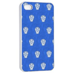 Skull Pattern Inky Blue Apple Iphone 4/4s Seamless Case (white)