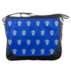 Skull Pattern Inky Blue Messenger Bags