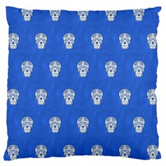 Skull Pattern Inky Blue Large Cushion Cases (One Side)