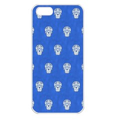 Skull Pattern Inky Blue Apple iPhone 5 Seamless Case (White)