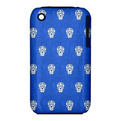 Skull Pattern Inky Blue Apple Iphone 3g/3gs Hardshell Case (pc+silicone)