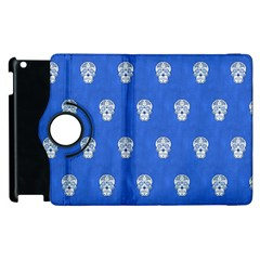 Skull Pattern Inky Blue Apple Ipad 2 Flip 360 Case