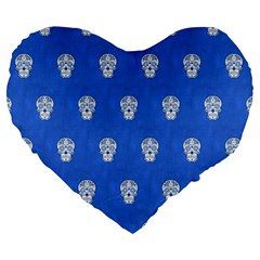 Skull Pattern Inky Blue Large 19  Premium Heart Shape Cushions