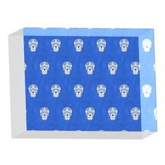 Skull Pattern Inky Blue 5 x 7  Acrylic Photo Blocks