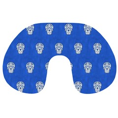 Skull Pattern Inky Blue Travel Neck Pillows