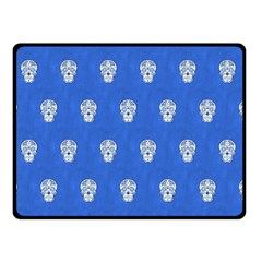 Skull Pattern Inky Blue Double Sided Fleece Blanket (Small)