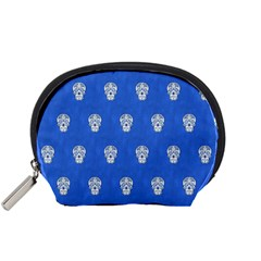 Skull Pattern Inky Blue Accessory Pouches (small)