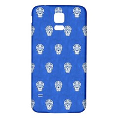Skull Pattern Inky Blue Samsung Galaxy S5 Back Case (White)