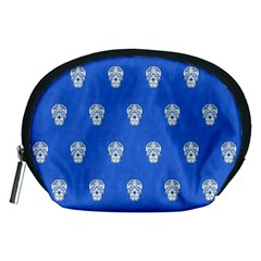 Skull Pattern Inky Blue Accessory Pouches (Medium)