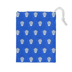 Skull Pattern Inky Blue Drawstring Pouches (large)