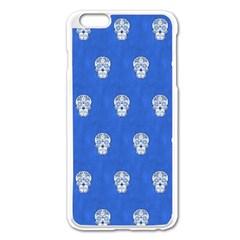 Skull Pattern Inky Blue Apple Iphone 6 Plus Enamel White Case