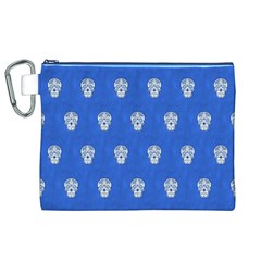 Skull Pattern Inky Blue Canvas Cosmetic Bag (XL)