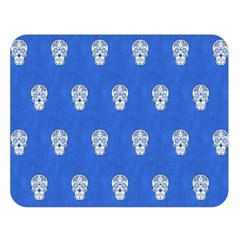 Skull Pattern Inky Blue Double Sided Flano Blanket (large)