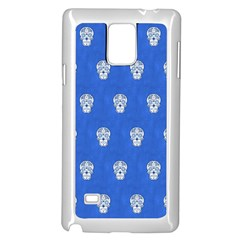 Skull Pattern Inky Blue Samsung Galaxy Note 4 Case (white)