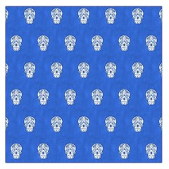 Skull Pattern Inky Blue Large Satin Scarf (Square)