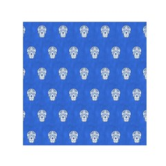 Skull Pattern Inky Blue Small Satin Scarf (Square)