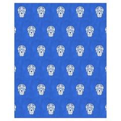 Skull Pattern Inky Blue Drawstring Bag (Small)