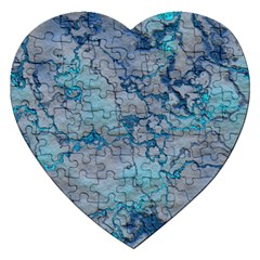 Marbled Lava Blue Jigsaw Puzzle (Heart)