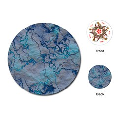 Marbled Lava Blue Playing Cards (Round)