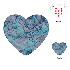 Marbled Lava Blue Playing Cards (Heart)