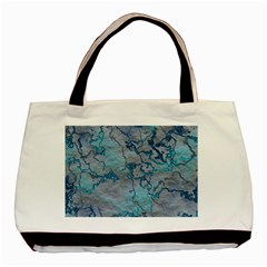 Marbled Lava Blue Basic Tote Bag (Two Sides)