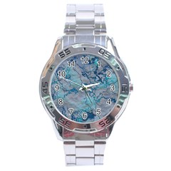 Marbled Lava Blue Stainless Steel Men s Watch
