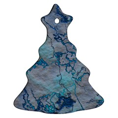 Marbled Lava Blue Ornament (Christmas Tree)