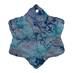 Marbled Lava Blue Snowflake Ornament (2-Side)