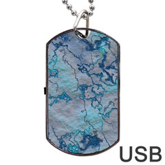 Marbled Lava Blue Dog Tag USB Flash (One Side)