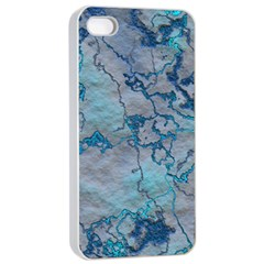 Marbled Lava Blue Apple Iphone 4/4s Seamless Case (white)