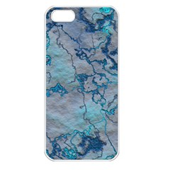 Marbled Lava Blue Apple iPhone 5 Seamless Case (White)