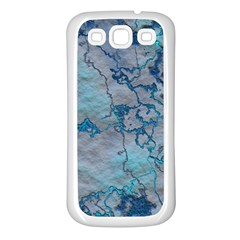 Marbled Lava Blue Samsung Galaxy S3 Back Case (White)