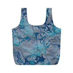 Marbled Lava Blue Full Print Recycle Bags (M)