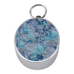 Marbled Lava Blue Mini Silver Compasses
