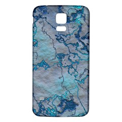 Marbled Lava Blue Samsung Galaxy S5 Back Case (White)