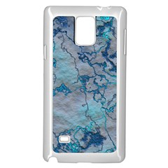 Marbled Lava Blue Samsung Galaxy Note 4 Case (White)