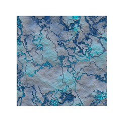 Marbled Lava Blue Small Satin Scarf (Square)
