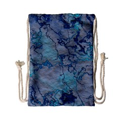 Marbled Lava Blue Drawstring Bag (Small)