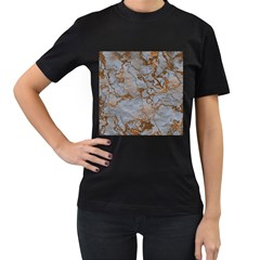Marbled Lava Orange Women s T Shirt (black) (two Sided)