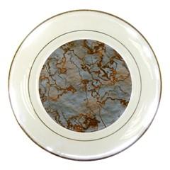 Marbled Lava Orange Porcelain Plates
