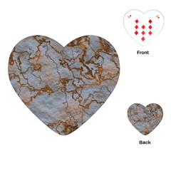 Marbled Lava Orange Playing Cards (heart)