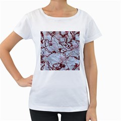 Marbled Lava Red Women s Loose-Fit T-Shirt (White)
