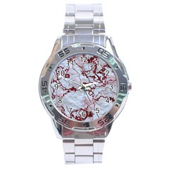 Marbled Lava Red Stainless Steel Men s Watch