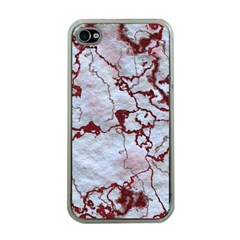 Marbled Lava Red Apple iPhone 4 Case (Clear)