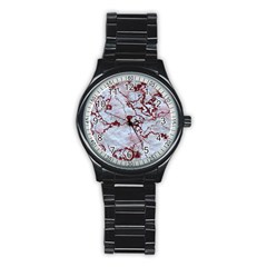 Marbled Lava Red Stainless Steel Round Watches