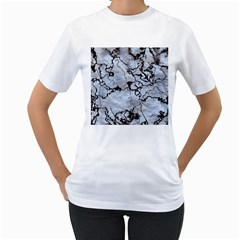 Marbled Lava White Black Women s T Shirt (white) (two Sided)