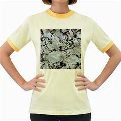 Marbled Lava White Black Women s Fitted Ringer T Shirts