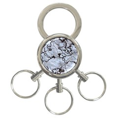 Marbled Lava White Black 3-Ring Key Chains