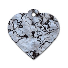 Marbled Lava White Black Dog Tag Heart (two Sides)